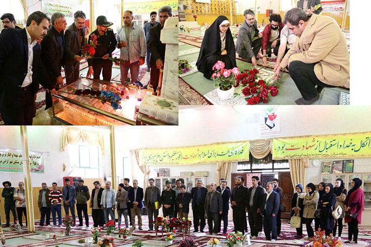ادای احترام اعضای ستاد شصت و یکمین جشنواره منطقهای سینمای جوان اردبیل -مشگینشهر به شهدا